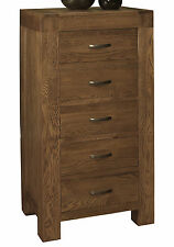 Hena solid oak bedroom furniture tall narrow wellington chest of drawers