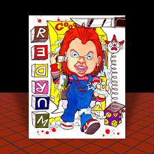 New CHUCKY in Good Guy Doll box CHILD'S PLAY artist signed POSTER ART, horror