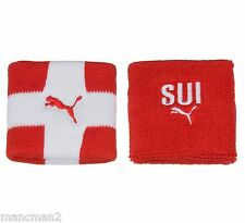 NEW Puma SUI Switzerland Wristbands Unisex Red White Sweatbands Tennis Sports