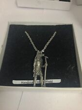 Anubis Egyptian God Figure WE-EP13 Emblem Silver Platinum Plated Necklace 18""