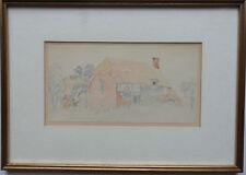 Aaron Edwin Penley 1807-1870 original pintura de una cabaña con procedencia