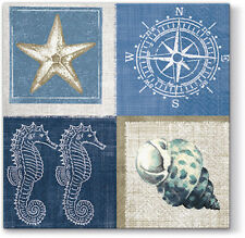 20 Paper Lunch Napkins Blue SEA LIFE Decoration Sea Horse Mussels Starfish