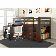 Loft Beds With Desk Student For Kids Brown Twin Size Frame Bookcase Storage Wood