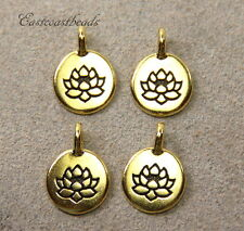 TierraCast, Lotus Disk, Charm, Drops, Antiqued Gold Plated Pewter, 4 Pieces