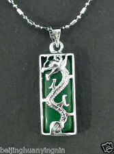 hot Beautiful Green Jade Silver Dragon Amulet pendant Necklaces