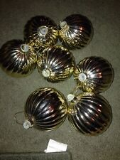 "7- Gold Round Plastic Christmas Ornaments 3-3/4"" Indoors/Outdoors"