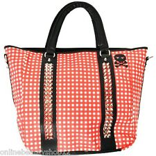 Abbey Dawn By Avril Lavigne Gingham tachonado Picnic Grande Hombro Handbag-Red