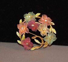 "Gorgeous Pressed ""Flower"" & Enamel Delicate Signed Art Vintage Brooch!"