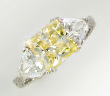 2.5 ct Canary Princess Filligree  Ring Top CZ  Moissanite Simulant SS Size 4.5