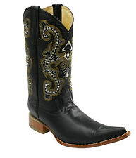 Men's Genuine Leather Plain Western Cowboy 3x Boots