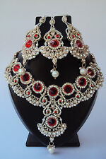 Designer Ethnic Indian Bollywood Red Fashion Jewelry Bridal Necklace Set