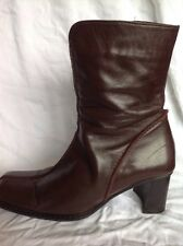 Next Brown Leather Ankle Boots Size 38