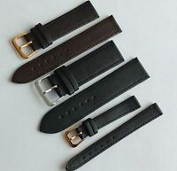 Black Brown Genuine Leather Watch Strap Band Sizes 6,8,10,12,14,16,18,20,22,24mm
