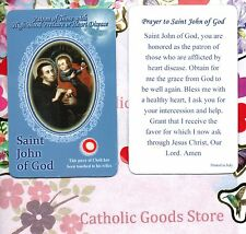 St John of God with Prayer  - Relic Paperstock Holy Card