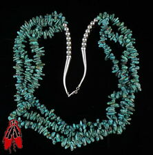 Beautiful green turquoise nugget 3 strand bead necklace vintage Navajo pawn