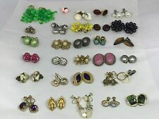 Lot of 30 pairs Vintage Clip on Screw Back Earrings 50's 60's 70's