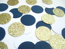 "Confetti 1"" Paper Circles Blues White Gold Wedding Birthday Party Decor"