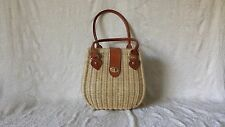 Vintage 1960's Woven Plastic Covered Wicker Straw Purse Leather Trim