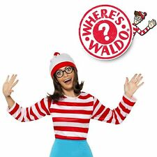 Where's Waldo Wally Wenda Cartoon Halloween Ladies Womens Fancy Dress Up Costume