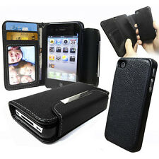 Black Leather Wallet Case with Detachable Hard cover for apple iPhone 4S 4 4g