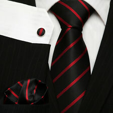Men's College Club Necktie Set; Black & Red Thin Striped Silk Tie Set UK Stock