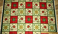 """Elm Creek the Giving Quilt Poinsettia Red Rooster Christmas Fabric 23"""" Repeat"""