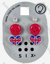 3prs! RED BUTTON heart UNION JACK crystal STUDS stud EARRINGS kitshc RETRO