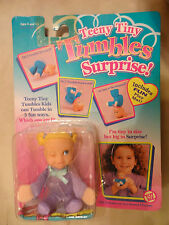 "NRFP NEW 1996 Teeny Tiny Tumbles Surprise 4"" Doll Toy Biz  Purple - Blue Winking"