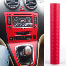 "3D DIY Carbon Fiber Vinyl Car Wrap Sheet Roll Film Decal Sticker 12""x60"" Red"