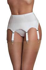 Cinturón con Liguero para Medias nylon costura 6 Clips de metal Talla L blanco