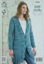 KNITTING PATTERN Ladies Long Sleeve V-Neck Long Cable Cardigan Super Chunky 4068