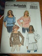 butterick sewing pattern 4738 uncut boho top hippie shirt XS-M B30.5-36 new