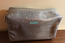 Estee Lauder Cosmetic Bag Faux Leather Silver GWP #0916B New