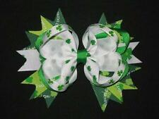 "NEW ""Green Shamrocks"" Hairbow Grosgrain Ribbon Hair Bow Girls St. Patty's Day"