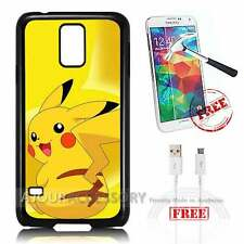 Samsung Galaxy S5 Case Cover Tempered Glass Film A3871 Pokemon Pikachu