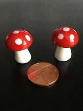 2 Glass Mushrooms / Toadstools, Doll House Miniature, Fairy Garden.