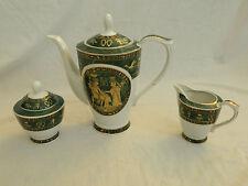 3 Piece Egyptian Pharaoh Collectible Porcelain Tea Pot Sugar Creamer Green Sale!