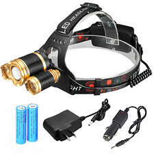 ZOOM 32000LUMENS 3X XML T6 LED Headlamp Head Light Torch Lamp 18650 Battery