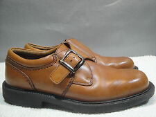 MENS 8 M HUSH PUPPIES G-ZERO BROWN LEATHER COMFORT BUCKLE OXFORD LOAFER SHOES