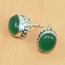 FREE SHIP 925 SILVER PLATED GREEN ONYX NICE STUDD   EARRING G00758