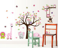 Owl Tree branch elephant Wall Art Stickers Kids Nursery Vinyl Decal Removable