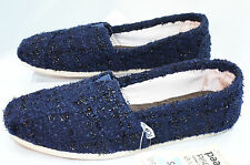 Toms Women's Classics Shoes Navy Flats Slippers Size 7 Loafers Boucle Blue NIB