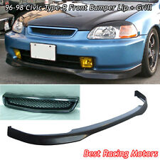 TR Style Front Lip (PU) + TR Style Grill (ABS) Fits 96-98 Honda Civic 4dr