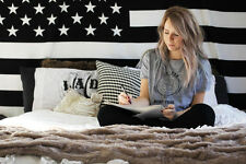 Twin Small American Flag Tapestry Wall Hanging Dorm Decor Black USA America