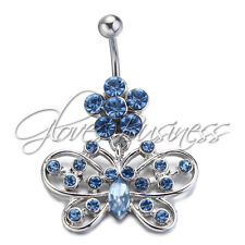 316L Stainless Steel Blue Butterfly Navel Ring Belly Barbell Body Piercing