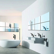 16 pcs Plastic Mirrors Self Adhesive Tiles Wall Stickers Decal Mosaic Decoration