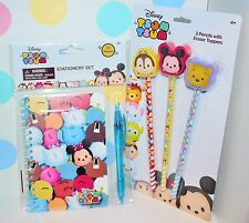 Disney Tsum Tsum Stationary Set Notebook Pen and 3 pk Pencils w/ toppers New