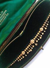 Delightful Fine Victorian 15ct Gold Natural Seed Pearl & Diamond Fringe Necklace