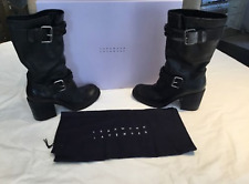"Authentic Vera Wang Lavender ""Cameron"" Jeweled Biker Boot, Size 7,  Black"