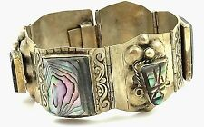 """ANTIQUE .925 STERLING SILVER  & CARVED ABALONE MAYAN/AZTEC BRACELET 7"""" MEXICO"""
